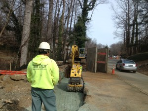 INSTALLING CONCRETE PIPE AT OLD LYNCHBURG ROAD PROJECT LOCATED IN CHARLOTTESVILLE, VA.