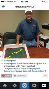 TODD VEST'S 5TH ANNIVERSARY WITH FINLEY ASPHALT