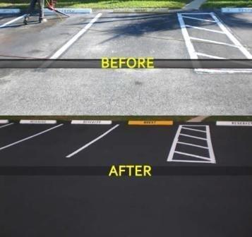 LOOK HOW GREAT YOUR PARKING LOT COULD LOOK AFTER SEAL COATING AND RE-STRIPING.