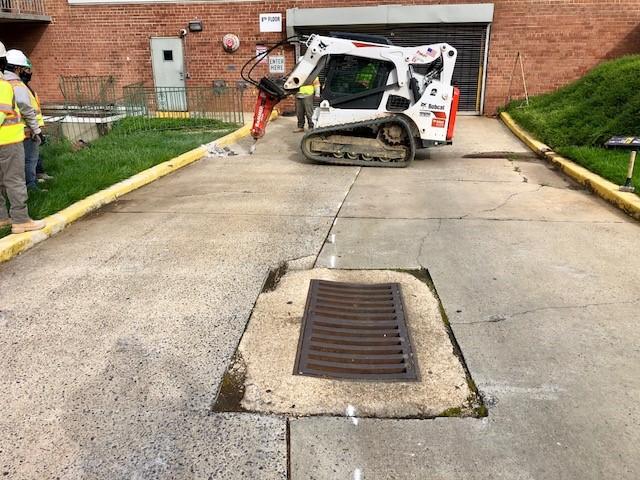 Concrete driveway repair for apartment complex in Washington DC